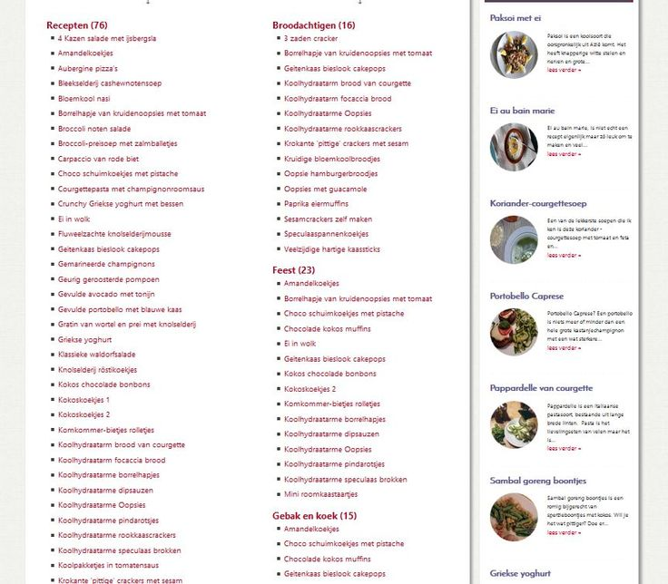 Alfabetische index van alle recepten op deze website. Stuk voor stuk gezonde, koolhydraatarme recepten voor een afwisselend menu. Allemaal door mijzelf gekookt. Niet ingewikkeld om klaar te maken, recepten met eerlijke ingrediënten, altijd zonder vlees… Lees verder »