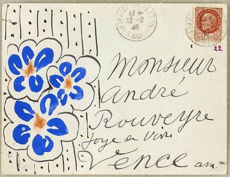 A letter sent by Henri Matisse  !Mailart, Hands Letters, A Letters, Henry Matisse, Letters Art, Henri Matisse, Blue Flower, Envelopes Art, Mail Art