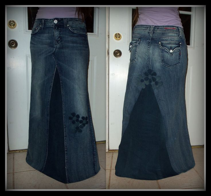 Custom Order Two Tone Long Jean Skirt With Added Flower Detail To Your Size Made On PLUS SIZE 18 20 22 24 26