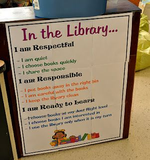 Class library chart - great idea!  Could be modified for the classroom!