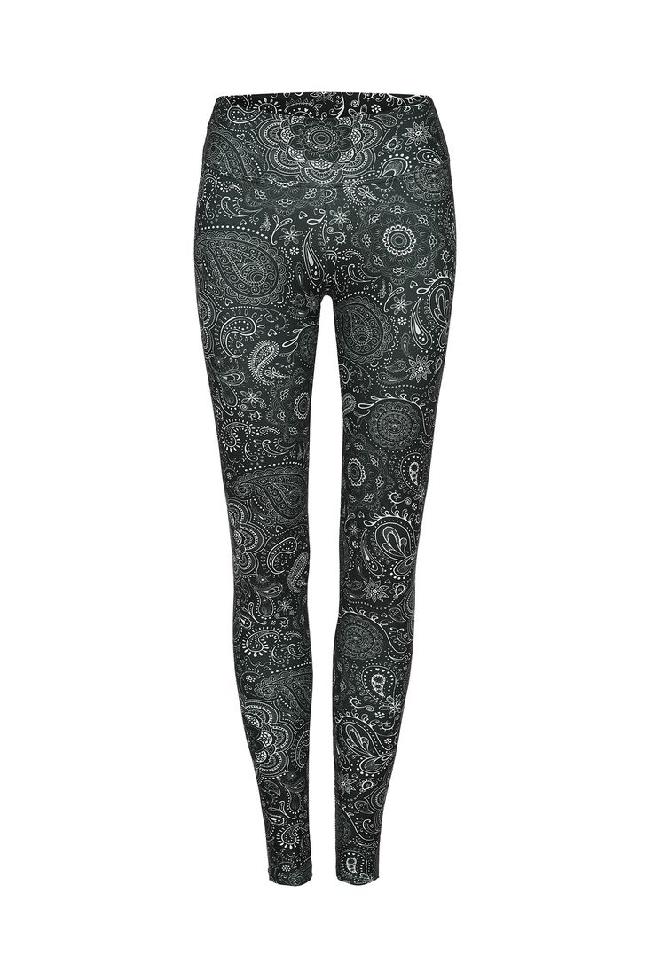 Black Paisley Standard Waist Printed Yoga Legging - Full Length – Dharma Bums Yoga and Activewear