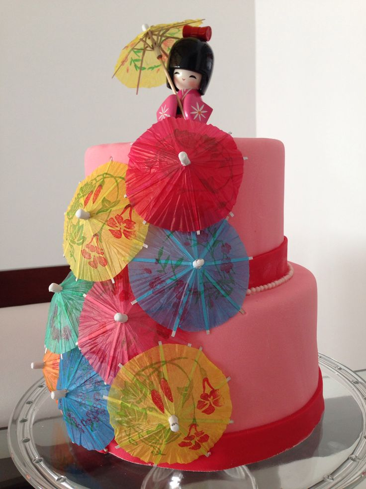 Asian cake - parasol - chinese. Cake for my daughter's mulan party