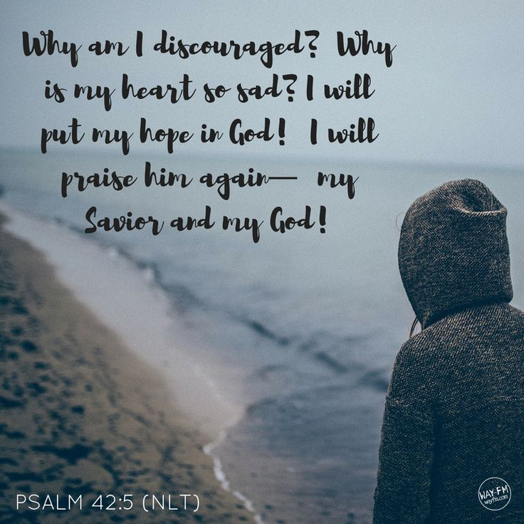 Psalm 42:5  Why am I discouraged?  Why is my heart so sad? I will put my hope in God!  I will praise Him again—my Savior and my God!