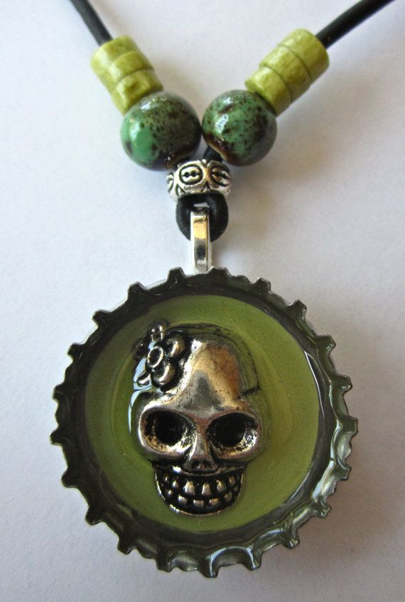 LimeGreen Sunken Skull Bottle Cap Jewelry by Pir8t on Etsy, $18.00