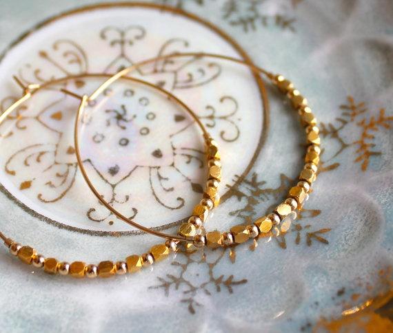Gold Nugget Hoops: Nuggets Hoop, Gold Nuggets, Hoop Earrings