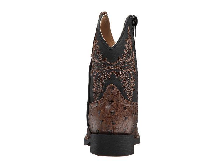 Roper Kids Jed (Toddler) Cowboy Boots Brown Faux Ostrich Vamp Black Shaft