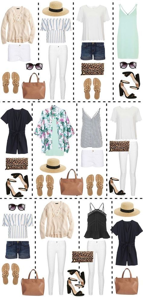 Twelve outfits can be created from just a few basic pieces! This packing guide is really helpful for mixing and matching pieces