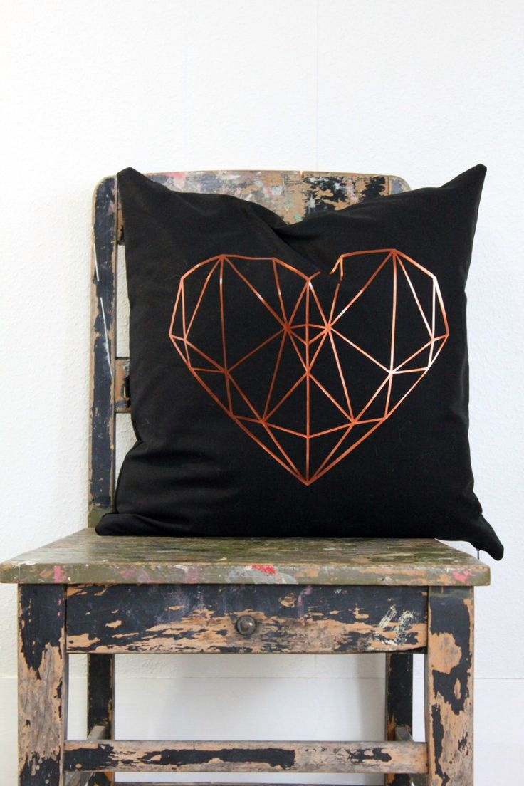 Geometric heart pillow cover, Metallic copper on black cushion cover, copper and black throw pillow, black, copper decor, teen bedroom decor by northwestdecor on Etsy https://www.etsy.com/listing/232894432/geometric-heart-pillow-cover-metallic