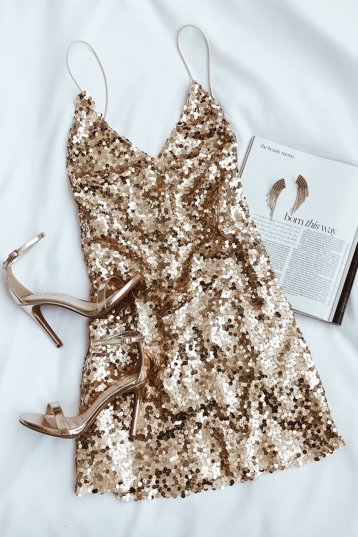 Force of Fashion Gold Backless Sequin Mini Dress