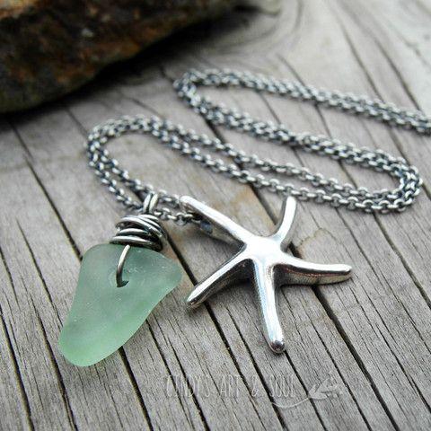 Sea Glass Pendant Necklace w Starfish