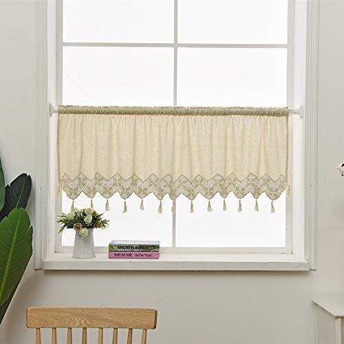 Zhh Linen Kitchen Curtain Hollow Crochet Lace Tassel