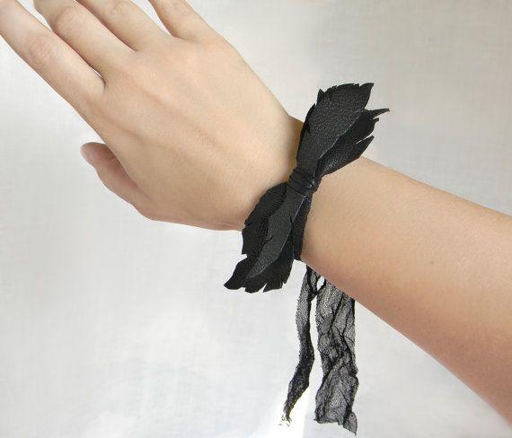 Leather Wrist Cuff Bow Bracelet Black Leather Jewelry by Elyseeart