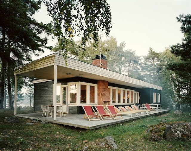 Scandinavian retreat i think is midcentury.Note it has a fireplace outside as well as in. Imagine the family gatherings this would facilitate.