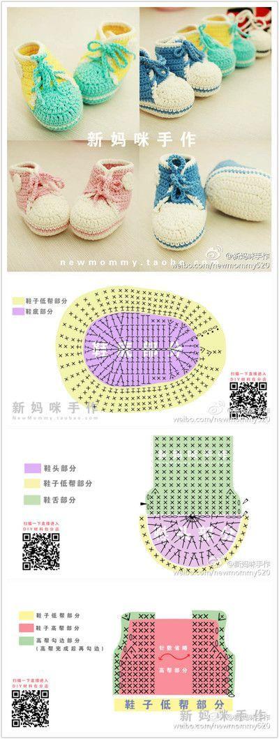 269 best Sandalias,botitas... images on Pinterest | Crochet baby ...