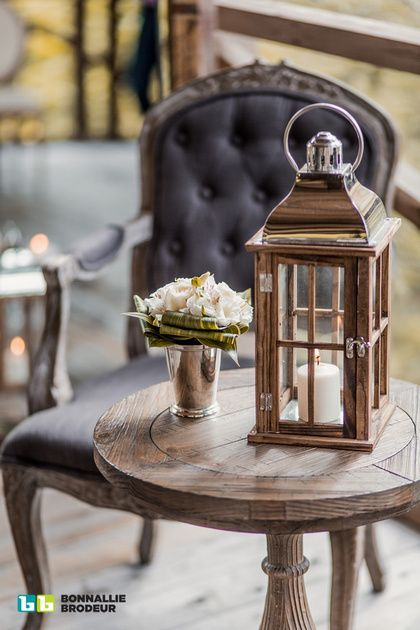 Hitchcock End table, Shabby Louis XV Tufted Armchair and Cottage Lantern available at Joe's Prop House. Event Planner: Zeina Issa Event Planning and Design /// Photo credit: Bonnallie Brodeur Photography /// Rentals & Decor: Joe's Prop House www.joesprophouse.com