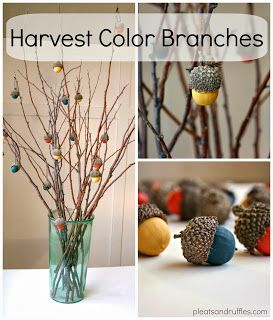 Tutorial for Painted acorns for my Thanksgiving Branches. - Hint: Dry the acorns in the oven first so they can keep longer.