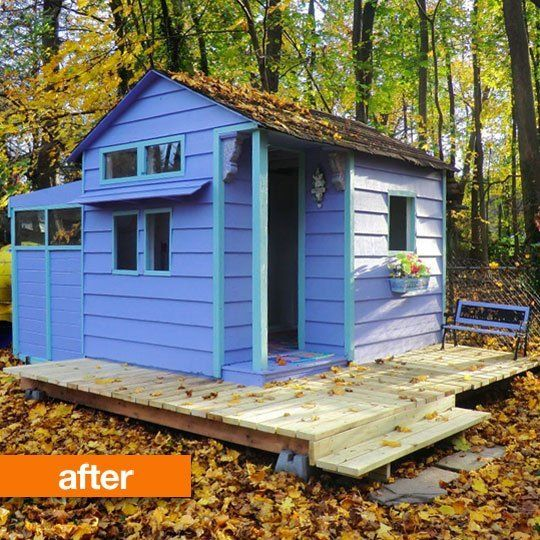 before after a smelly garden shed turned bright playhouse perry moffit