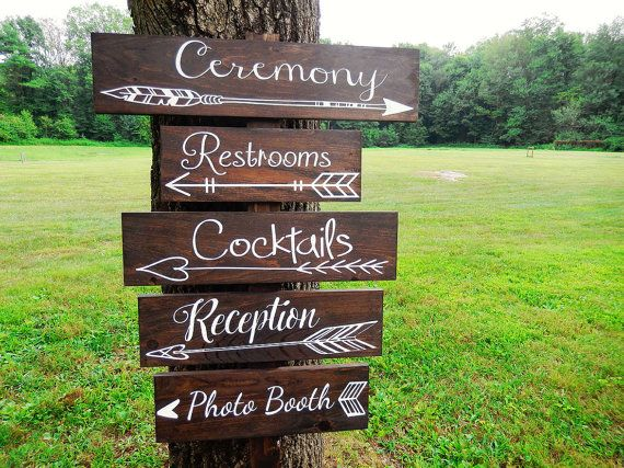 We love the laid back look of these wedding signs. We found them on Etsy. One Wedding Arrow Directional Sign- Wedding Arrow Sign- Rustic Wedding Sign- Woodland Wedding Sign - Boho Wedding Sign - Bohemian Wedding