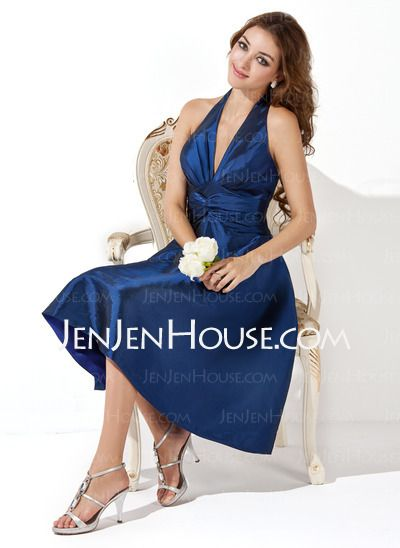 Bridesmaid Dresses - $93.99 - A-Line/Princess Halter Knee-Length Taffeta Bridesmaid Dress With Ruffle (007000860) http://jenjenhouse.com/A-Line-Princess-Halter-Knee-Length-Taffeta-Bridesmaid-Dress-With-Ruffle-007000860-g860