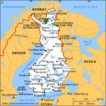 Located between Sweden and Russia, Finland also borders the Baltic Sea, Gulf of Bothnia, and Gulf of Finland.