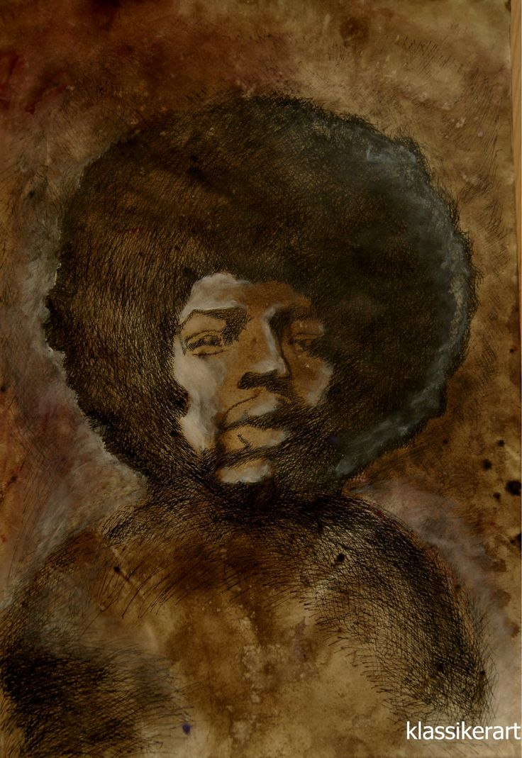 Jimmy Hendrix graphic sepia and ink