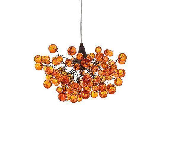 Orange Ceiling Light Globe Ceiling Light Elegant And Unique Etsy Unique Chandeliers Ceiling Lights Globe Ceiling Light