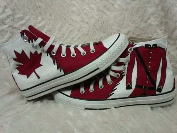 Hetalia Canada Hand Painted Converse by ReincarnateShoes on Etsy, $110.00