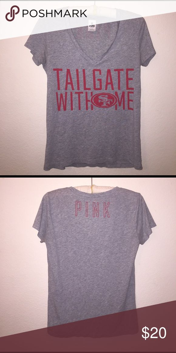 PINK Sf Niners V-Neck No flaws. Size L. Color is grey with red detailing. Feel free to ask any questions! PINK Victoria's Secret Tops