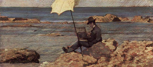 Silvestro Lega peignant sur les rochers, 1866, Giovanni Fattori