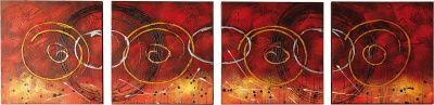 4 Quadri Dipinti ad Olio su Tela in Sequenza