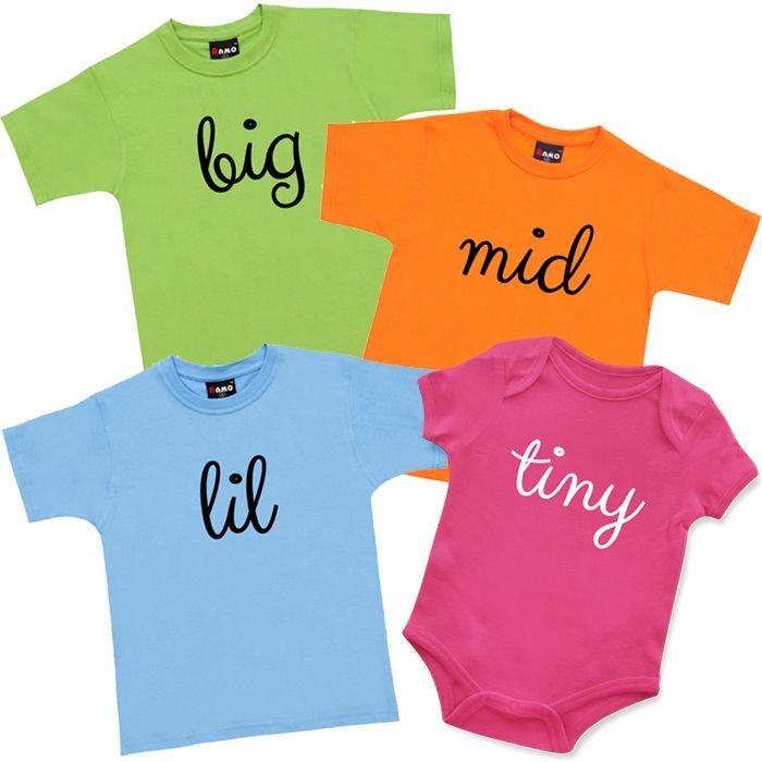 Big, Mid, Lil, Tiny T Shirts & Onesie Set