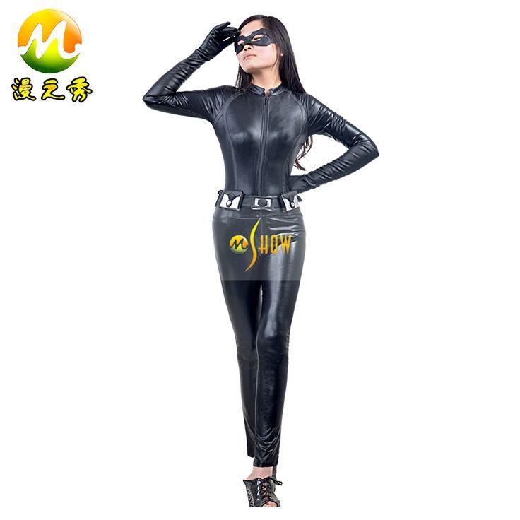The Dark Knight Rises Cosplay Batman Selina Kyle Halloween Faux Leather Cat Superhero Jumpsuit Women Costume
