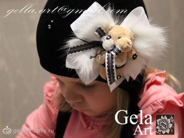 Бархатная шапка теплая для девочки с Мишкой Вип!!