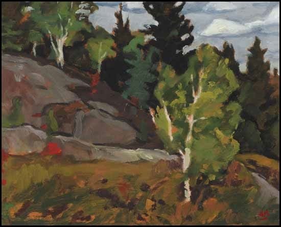 """""""Morin Heights,"""" Edwin Headley Holgate, 1966, oil on panel, 8.5 x 10.5"""", private collection."""