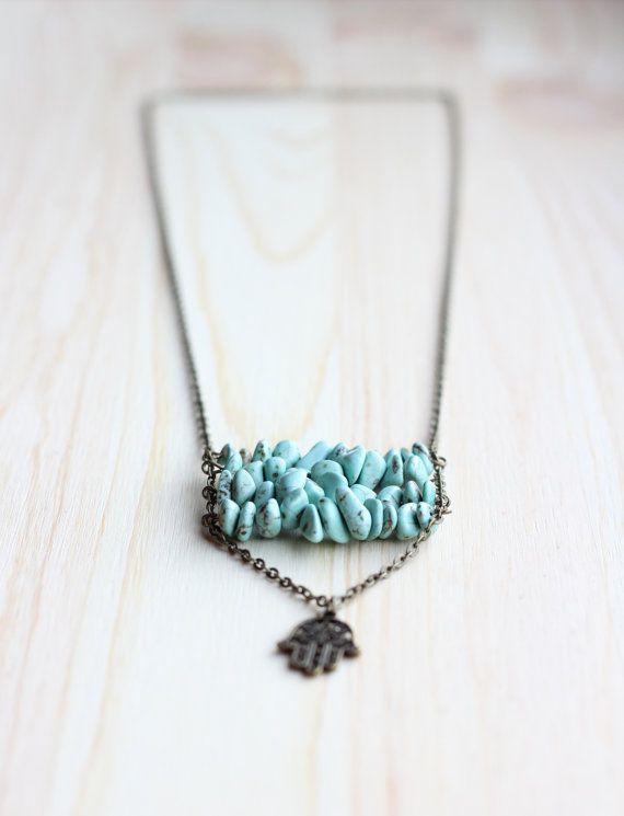 Long boho necklace Turquoise gemstone chips Ladder necklace Layering necklace Bohemian necklace Stone bar necklace Square shape Gift