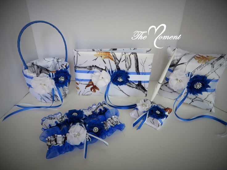 White Camo Wedding Set with Royal Blue, Wedding Flower Basket, Wedding Pillow, Wedding Guest Book, White True Timber Camouflage Wedding Set by TheMomentWedding on Etsy https://www.etsy.com/listing/239743189/white-camo-wedding-set-with-royal-blue