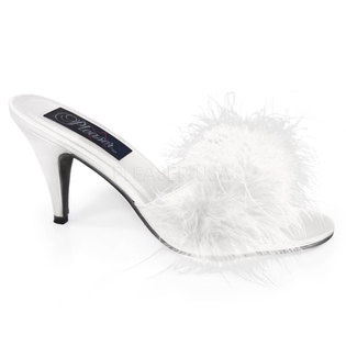 White Satin Marabou Feather Slippers