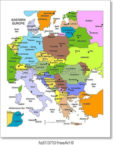 Green Map Of Europe.Free Art Print Of Eastern Europe With Editable Countries Names In