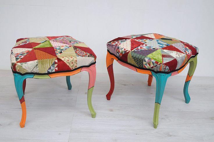 Chaises hautes transformées en tabourets multicolores par ATELIER D'éco SOLIDAIRE