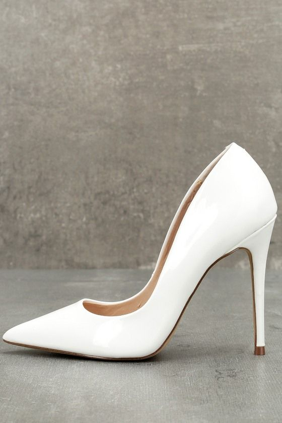71754893746 Steal the show with the Steve Madden Daisie White Patent Pumps! Sleek