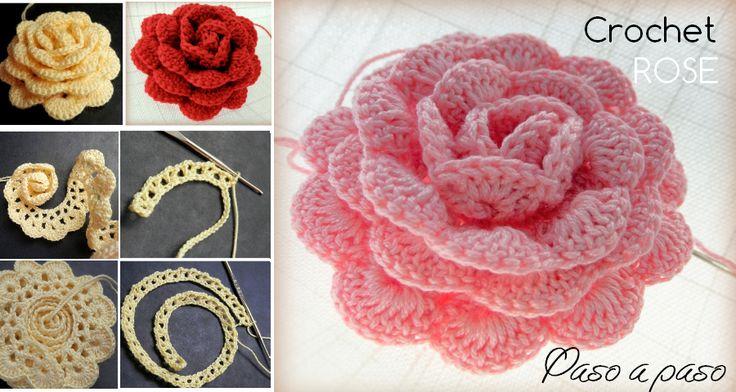 Como hacer Rosas a crochet paso a paso - GanchilloGanchillo