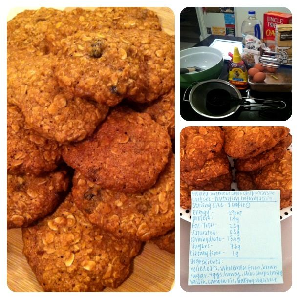 Made healthy raisin and oatmeal cookies (with nutritional panels) for fellow dietetic students on the first lecture day of final year. #dieteticnerd