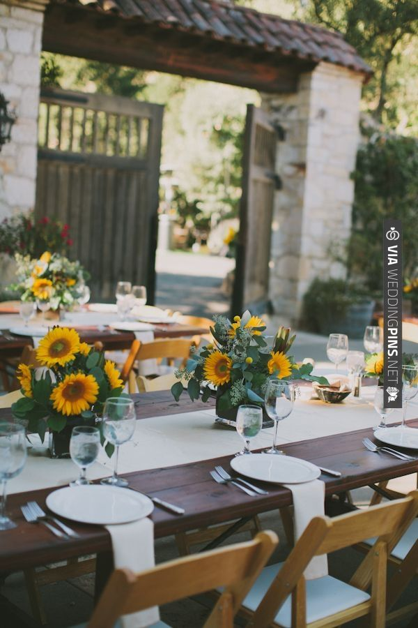 Chic Event Rentals sunflower wedding ideas | VIA #WEDDINGPINS.NET