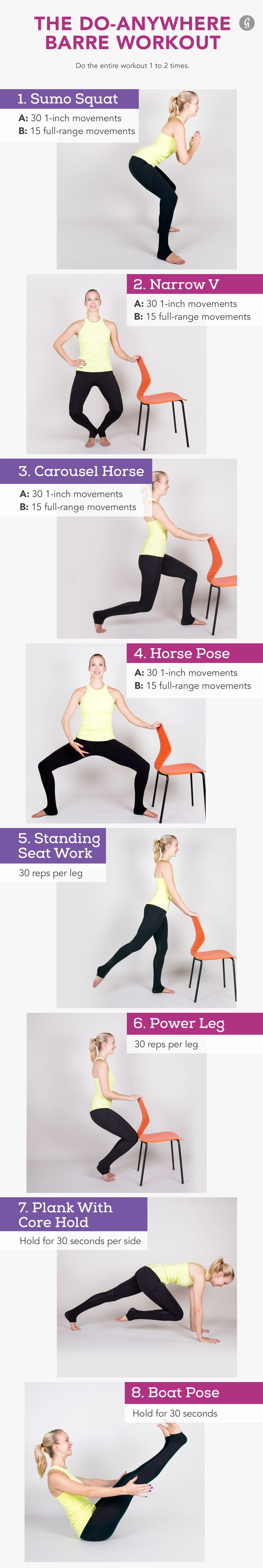 Skip the pricey studio classes—all you need is a chair and your own body weight for this workout #barre #workout http://greatist.com/move/home-barre-workout