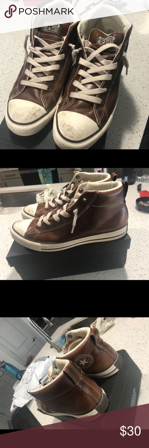 Brown leather Converse Allstar mid top Brown leather Converse Allstar mid top Converse Shoes Sneakers
