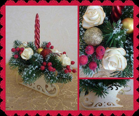 Christmas wooden sleigh candle holder red fir by FlowerKingdomArt