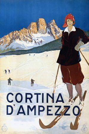 Cortina d'Ampezzo Skiiing Italy Italian Travel Vintage Posters Prints