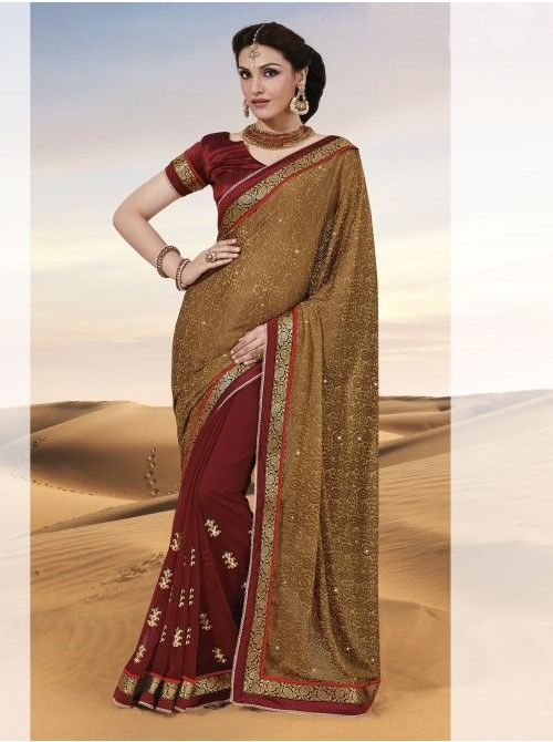 Brown and Maroon Chiffon and Brasso Half and Half Saree #Brown #Maroon #Chiffon #BuyHalfandhalfsaree