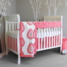 Coral baby blanket, dust ruffle, Lifetime crib sheet, and reversible rail cover