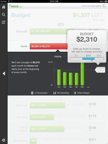 Mint.com Personal Finance 2.5 iPad App, UI, Mobile